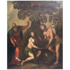 Early 18th Century Italian Oil on Canvas Painting depicting Adam and Eve