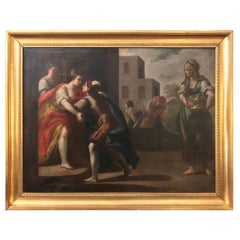 Early 18th Century Italian Painting with Figures Lombard School the Departure