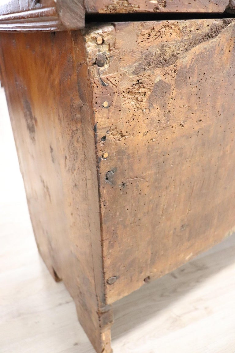 Early 18th Century Italian Solid Walnut Wood Blanket Chest For Sale 11