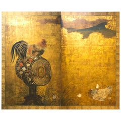 Early 18th Century, Japanese Folding Screen with Cock on Drum, Edo Period
