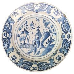 Early 18th Century Large Blue and White Ceramic Charger