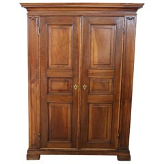 Early 18th Century Louis XIV Solid Walnut Antique Wardrobe, Armoire with Secret