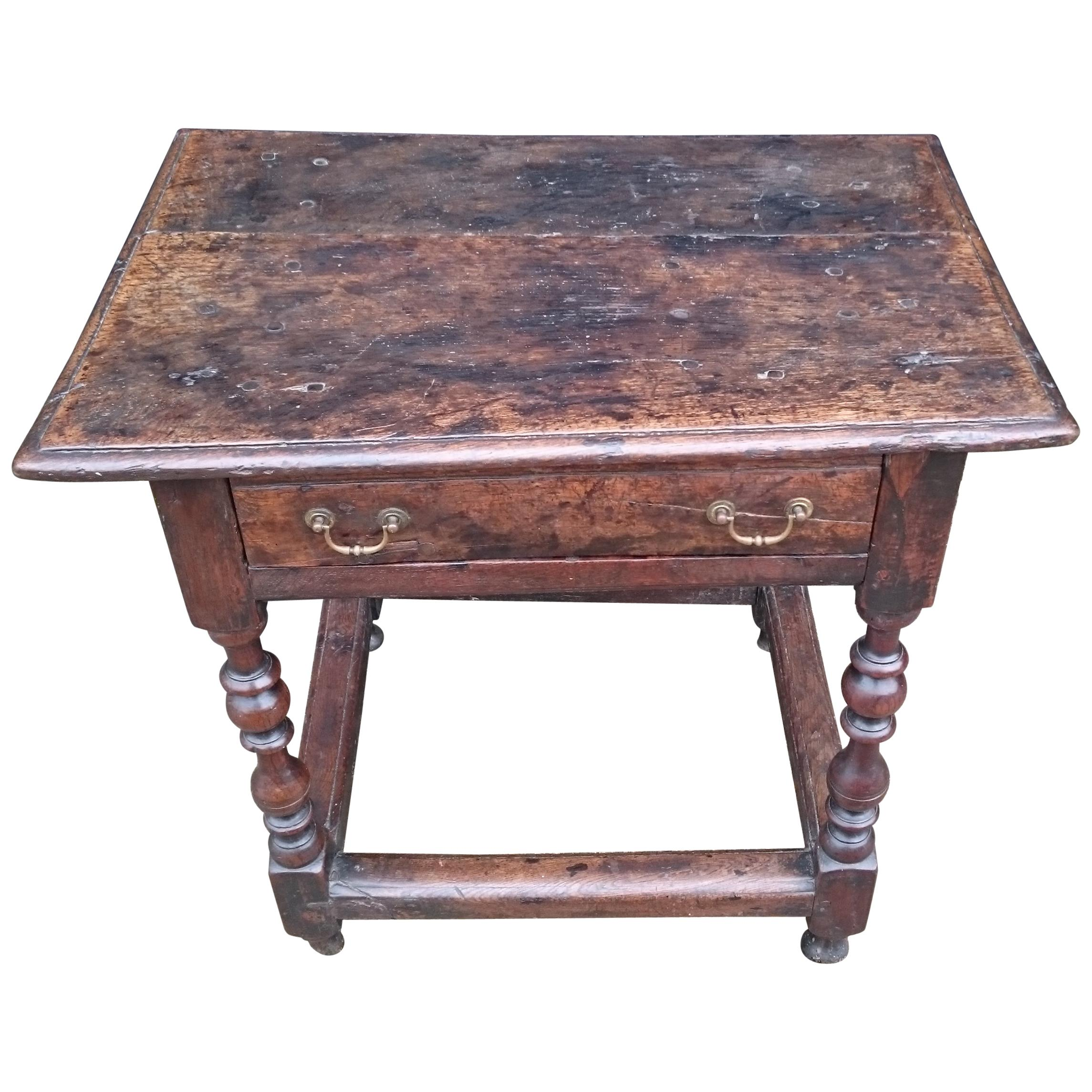 Early 18th Century Oak Antique Side Table