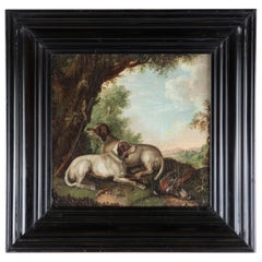 Early 18th Century Oil Painting with Two Hunting Dogs, Oil on Canvas, Framed