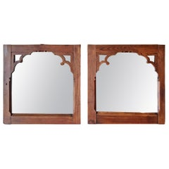 Early 18th Century Pair of Pine Gothic Confessional Door Mirrors, Historical
