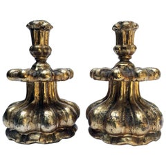 18th Century Pair of Louis XIV Italian Candlesticks Carved Mecca Silver-Leaf