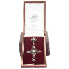 Early 18th Century Pendant, Silver & Table Cut Diamond Cross, French, circa 1720