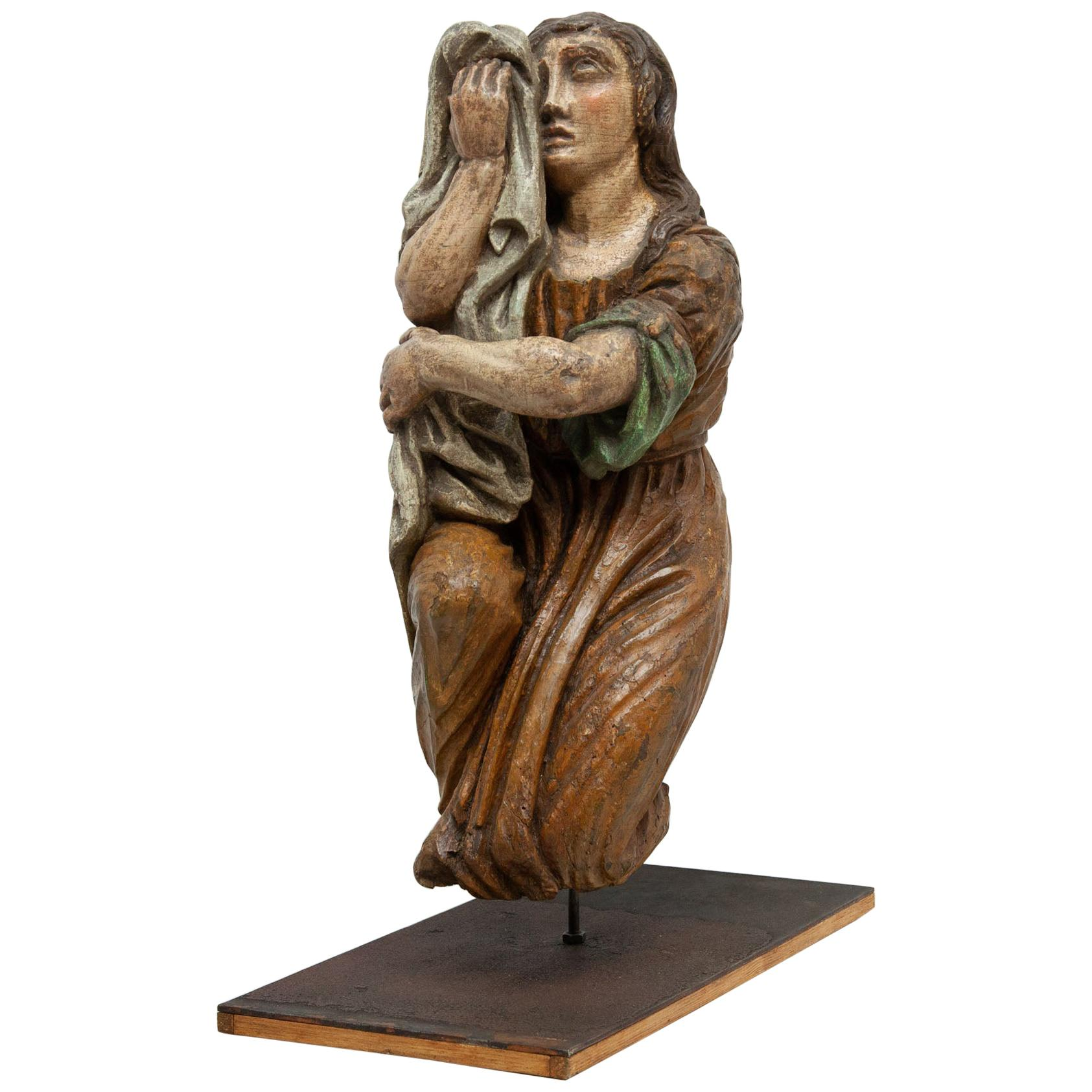 Early 18th Century Polychromed Wood Carving Santa Maria Magdalena
