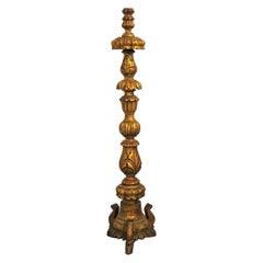 Early 18th Century Portuguese Carved Giltwood Church Torchère, Candleholder
