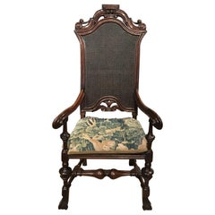 Early 18th Century Queen Anne Spanish Foot Armchair with Tapestry Cushion