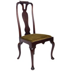 Early 18th Century Queen Anne Walnut Side Chair in Olive Velvet