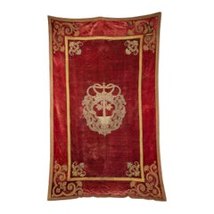 Early 18th Century Red Velvet Venetian Tapestry Embroidered in Gold Trim
