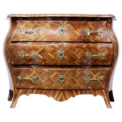 Early 18th Century Rococo Parquetry Plum Bombe Commode