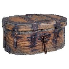 Early 18th Century Scandinavian Baroque Oak Iron Bound Box