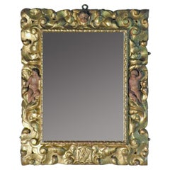 Early 18th Century Spanish Baroque Gilt Wood and Polychrome Mirror