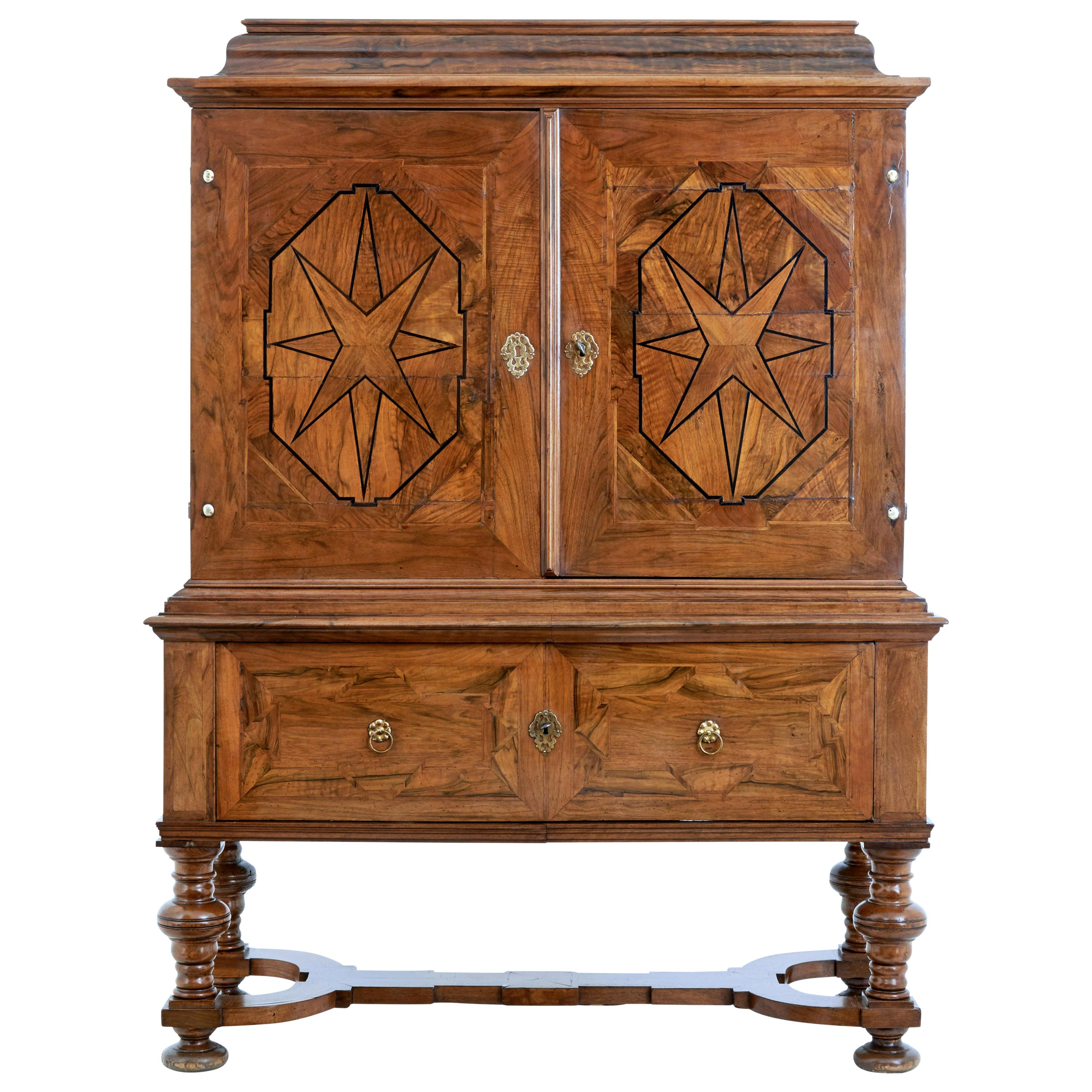Early 18th Century Swedish Baroque Walnut Cabinet on Stand