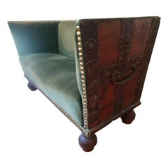 Early 18th Century Treasure Chest Upholstered Settee