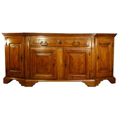 Early 18th Century Venetian Scantonata Walnut Credenza with Losanghe Carvings