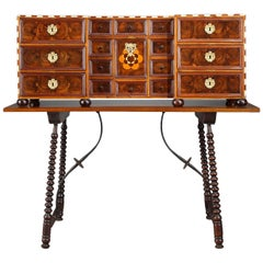 Early 18th Century Walnut and Amaranth Marquetry German Cabinet