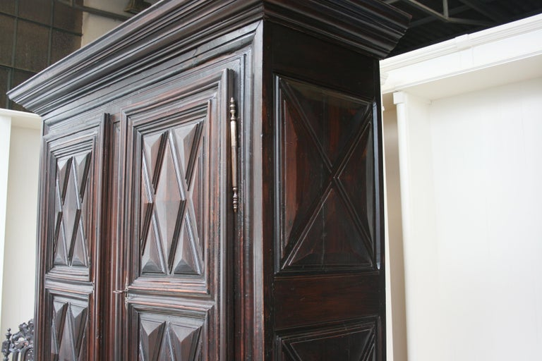 Early 18th Century Walnut Louis XII Armoire with Carved Diamond Point Panels For Sale 4