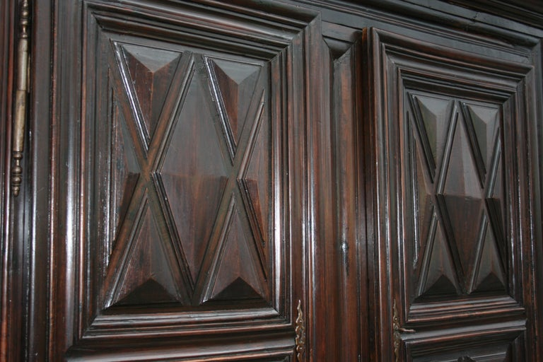 Early 18th Century Walnut Louis XII Armoire with Carved Diamond Point Panels For Sale 8
