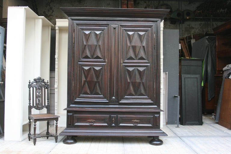 Louis XIII Early 18th Century Walnut Louis XII Armoire with Carved Diamond Point Panels For Sale