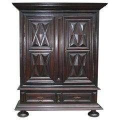 Early 18th Century Walnut Louis XII Armoire with Carved Diamond Point Panels