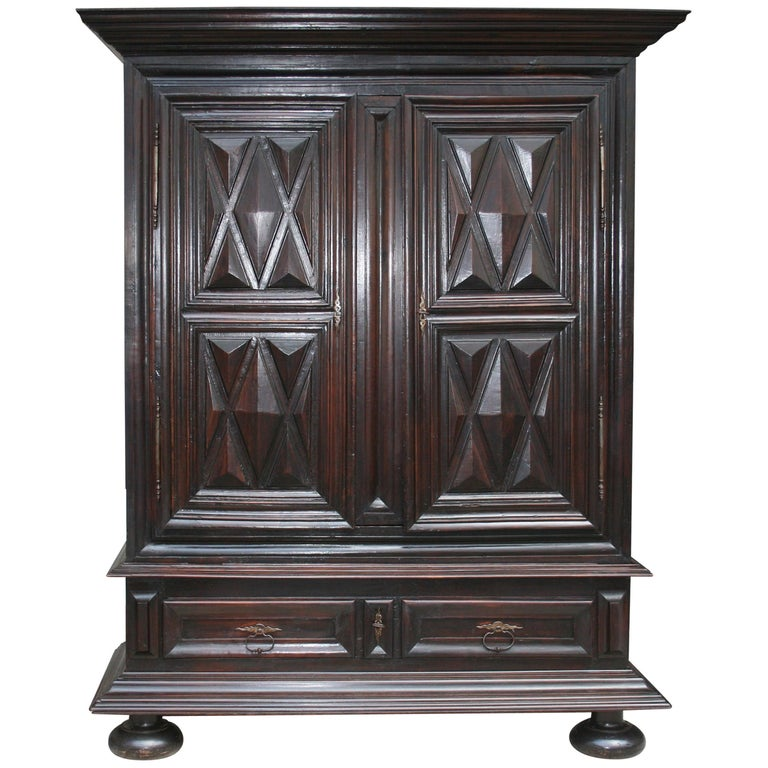 Early 18th Century Walnut Louis XII Armoire with Carved Diamond Point Panels For Sale