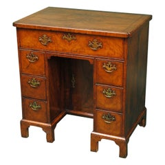 Early 18th Century Walnut Secretaire Kneehole Desk