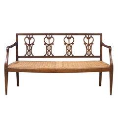 Walnut Sofa with Straw Seat Louis XVI Tuscany