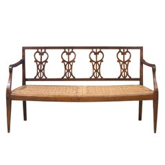 Early 18th Century Walnut Sofa with Straw Seat Louis XVI Tuscany, 1750