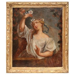 Early 18th Century Young Beauty Oil Painting in Carved Gilt Frame