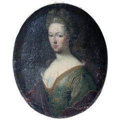 Early English School Oval Oil on Canvas Portrait of a Lady, circa 1730-1740