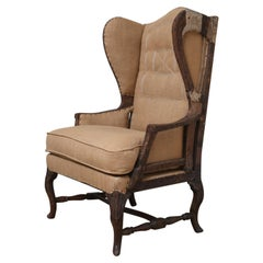 Early 18th Century French Deconstructed High Wing Back Fruitwood Armchair