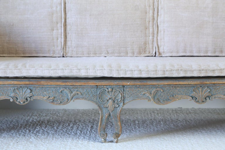 Wood Early 18th Century Swedish Carved Sofa with Original Paintwork For Sale