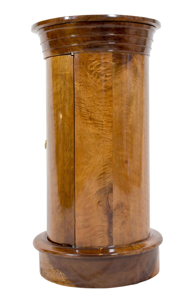 German Early 19 Century Biedermeier Walnut Round Drum Cabinet For Sale