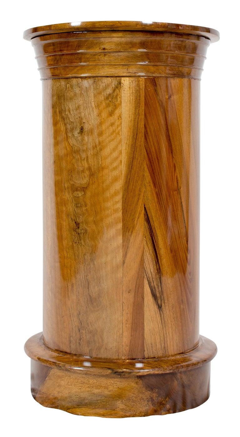 Polished Early 19 Century Biedermeier Walnut Round Drum Cabinet For Sale
