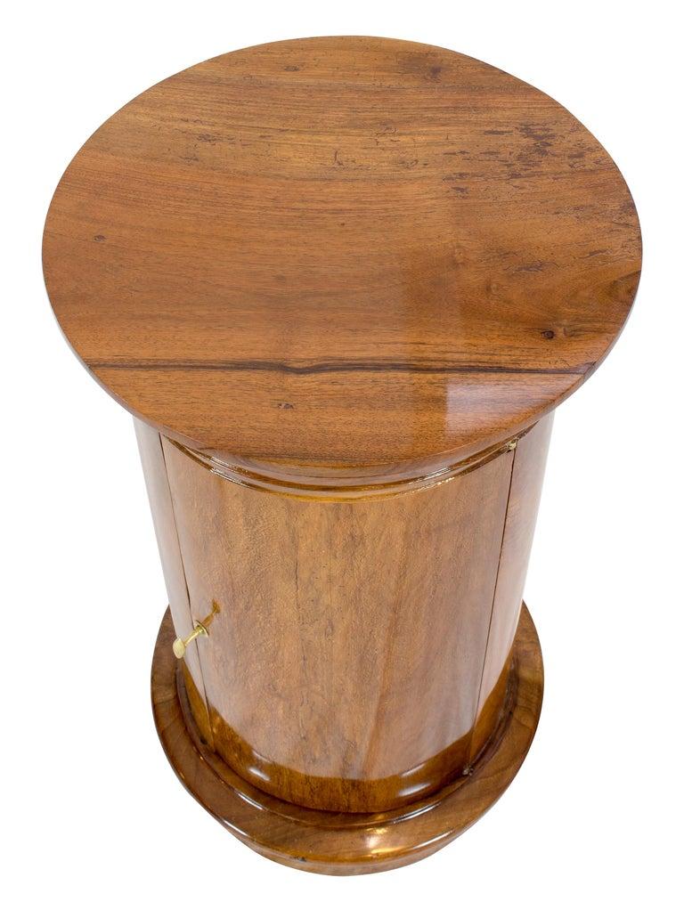 19th Century Early 19 Century Biedermeier Walnut Round Drum Cabinet For Sale