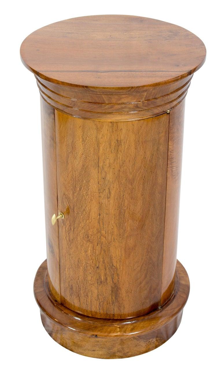 Brass Early 19 Century Biedermeier Walnut Round Drum Cabinet For Sale