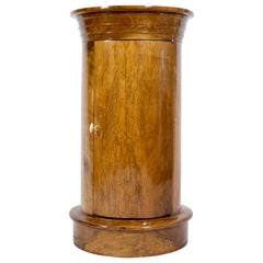 Early 19 Century Biedermeier Walnut Round Drum Cabinet