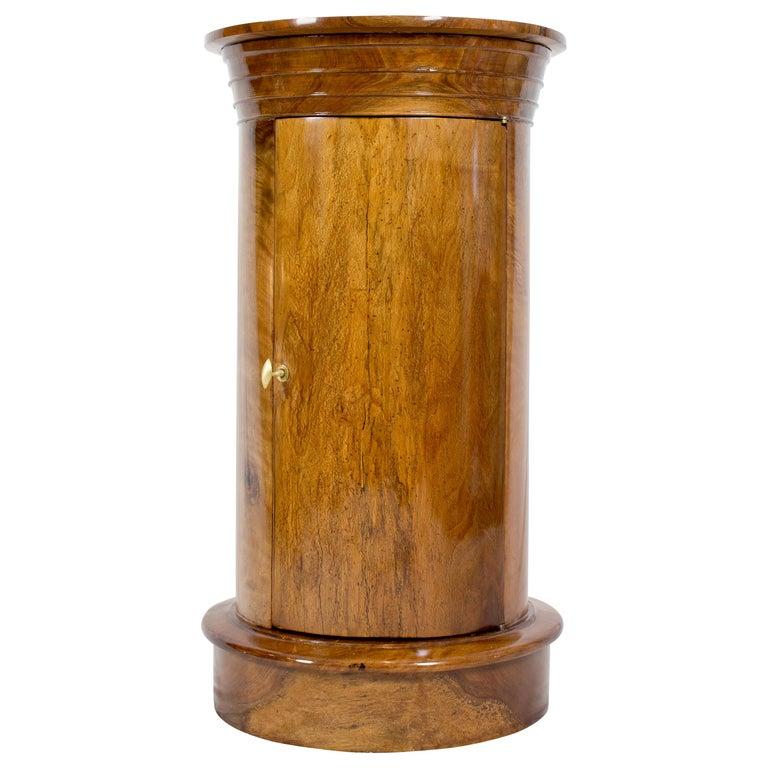 Early 19 Century Biedermeier Walnut Round Drum Cabinet For Sale