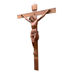 Early 1900 and Very Fine Quality Hand Carved Wall Crucifix / Jesus on the Cross