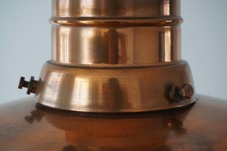 Early 1900 Belgian Copper Glass Pendant Light For Sale 4