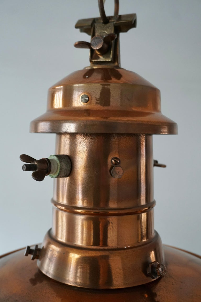 Early 1900 Belgian Copper Glass Pendant Light For Sale 5