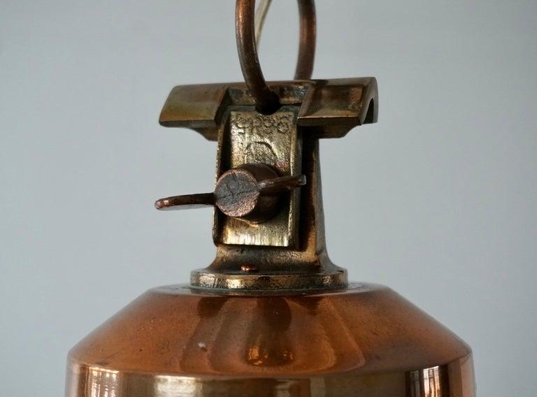 Early 1900 Belgian Copper Glass Pendant Light For Sale 7