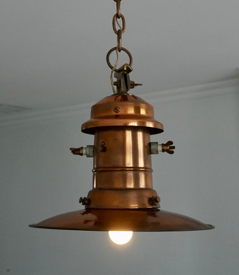 Hand-Crafted Early 1900 Belgian Copper Glass Pendant Light For Sale