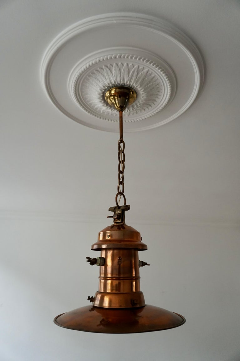 Early 1900 Belgian Copper Glass Pendant Light In Good Condition For Sale In Antwerp, BE