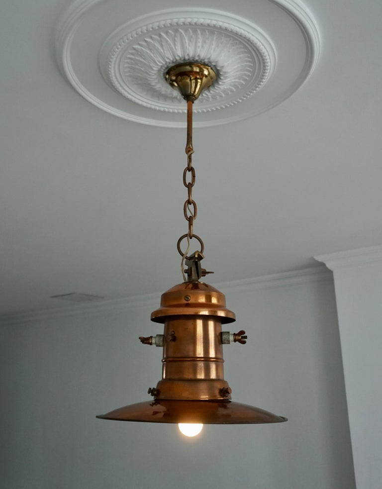 20th Century Early 1900 Belgian Copper Glass Pendant Light For Sale