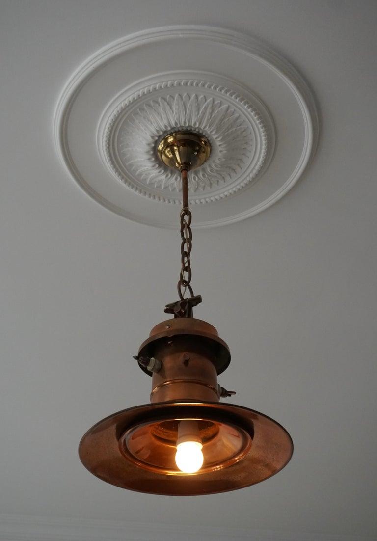 Early 1900 Belgian Copper Glass Pendant Light For Sale 1