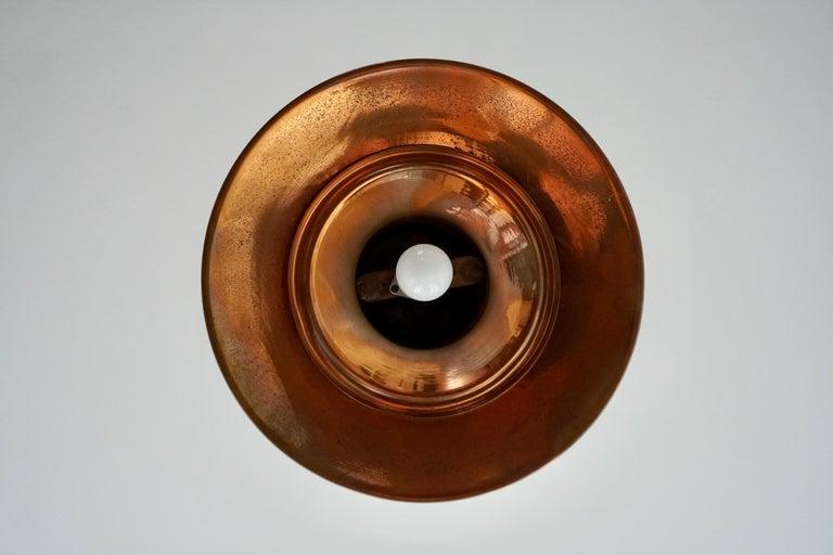 Early 1900 Belgian Copper Glass Pendant Light For Sale 2